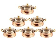 IndianArtVilla Handmade Steel Copper Casserole Dish Serving Food Daal Curry S >>> Check this awesome product by going to the link at the image.(This is an Amazon affiliate link and I receive a commission for the sales)