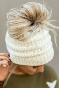 3cf588f7b9ffc Ivory knitted messy bun beanies hats from Three Bird Nest. TODAY SHOW  ponytail beanies for
