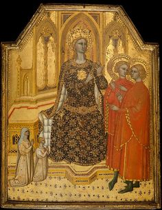 Saint Catherine Disputing and Two Donors - Cenni di Francesco di Ser Cenni (Italian, Florence, active by 1369–died 1415) possibly ca. 1380  Tempera on wood, gold ground