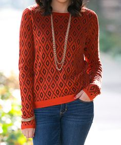 Another great find on #zulily! Orange Vancouver Scoop Neck Sweater by Sawyer Cove #zulilyfinds