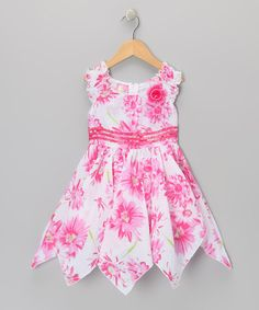 Take a look at this Pink Floral Handkerchief Dress - Toddler & Girls by Lele for Kids on #zulily today!