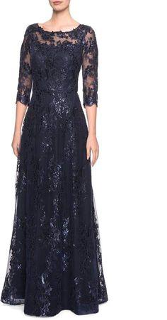 Women's La Femme Shimmer Sequin Lace Evening Dress, Size 2 – Blue – Street Style Lace Evening Dresses, Evening Gowns, Prom Dresses, Formal Dresses, Mother Of Groom Dresses, Mothers Dresses, Bride Groom Dress, Mom Dress, Nordstrom Dresses