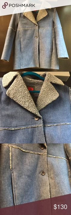 Nordstrom Brand Bernardo Jacket Denim Sherpa Bernardo Collection Denim/Sherpa Jacket! Size small, 3 button jacket, hangs past the bottom, in excellent condition! Fully Sherpa lined on the inside (see pictures! In excellent condition!!! Bernardo Collection Jackets & Coats