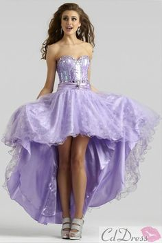 A line Sweetheart Elastic Satin Lace Beading High Low Lilac Prom Dress - Prom  Dresses - Wedding   Events e3d1cc864581