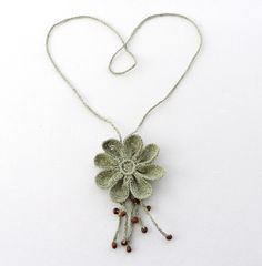 Crochet Necklace  Long Necklace  Natural Linen by CraftsbySigita,