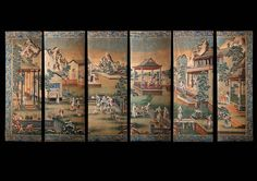 A Chinese Export Large Six-Fold Wallpaper Screen, Qing Dynasty, Late 18th Century (China)