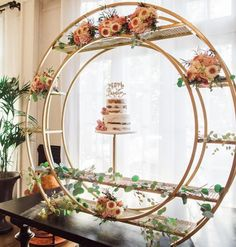 Best 12 Gold grid circle for hire from Allure Events. Can attach logo and flowers. Wedding Cake Display, Wedding Cake Stands, Wedding Cakes, Wedding Trends, Wedding Designs, Diy Wedding, Wedding Suite, Baby Shower Decorations, Wedding Decorations