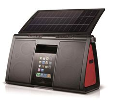 Eton Soulra XL Solar Powered Sound System for iPod and iPhone - (NSP500B). Power: 72 square inch enhanced monocrystal solar panel, rechargeable lithium ion battery pack, charges iPod and iPhone.30-Pin Dock Connector. Protect with: Rubberized end caps and anti-glare tinted iPod chamber. 8 speaker drivers (2x tweeter, 2x woofer, 4x passive radiator). 22W output with bass boost. Remote control storage and removable gel-cushioned carrying strap.