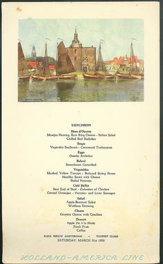 1952 holland america line rms nieuw amsterdam steamship breakfast holland america line r m s nieuw amsterdam luncheon menu card 331 1956 7 publicscrutiny Image collections