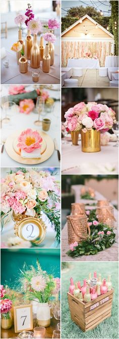 pink and gold wedding color ideas / http://www.deerpearlflowers.com/40-romantic-pink-and-gold-wedding-color-scheme-ideas/