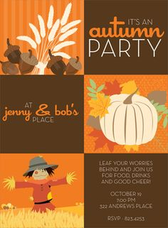 Welcome the fall with this fall party invitation! It has three brown squares for your personalized wording and three orange squares decorated with acorns, a white pumpkin, and a scarecrow. Makes a great choice for an autumn open house or Thanksgiving dinner! Digitally printed on 100lb cardstock and includes a white envelope.