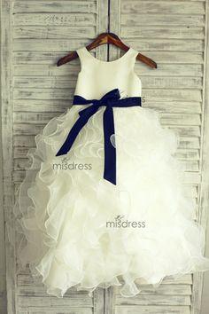 Organza TUTU Ruffles Flower Girl Dress/Navy Blue Sash by misdress, minus the navy ribbon