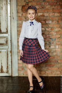 Купить Юбка в клетку шотландка, сине-красная (Арт. 20) - юбка детская школьная