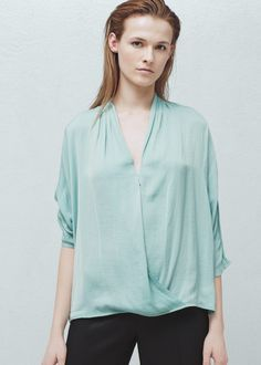 Wrap v-neckline blouse -  Women | MANGO USA