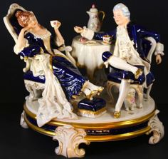 Vintage Large Royal Dux Porcelain Figurine Centerpiece in Cobalt Blue Gold Deco | eBay