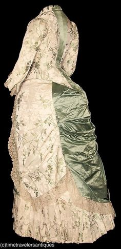 Sherrie Costello-Reed •  - i like your pin - fantastic - old dress -  ❤‿❤ - Lady with old dress- ❤‿❤ - thanks thanks thanks   c1880 Floral Silk Brocade Bustle Gown