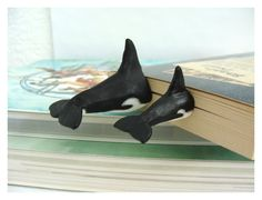 Pair of Killer Whale Tails Book Mark humorous by CatrinasToybox
