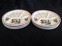 Set 6 Handed Painted French fondue plates by by ChrisTineDecor