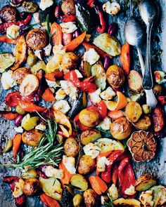 Mediterranean tray-bake with halloumi chunks