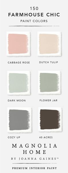 Subtle pink hues like Cabbage Rose and Dutch Tulip are transformed when paired with the light blue green of Dark Moon and Flower Jar. Explore the rest of the Magnolia Home by Joanna GainesTM paint col Palettes Color, Colour Schemes, Paint Schemes, Baby Dekor, Dutch Tulip, Farmhouse Paint Colors, Flowers In Jars, Light Blue Green, Light Green Paints