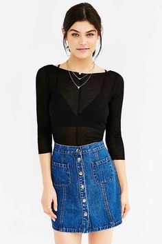 Out From Under 3/4 Sleeve Boatneck Top - Urban Outfitters
