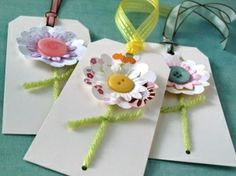 Popping up to sway in the spring breeze, these flower tags will delight your senses! Each flower is a crisp shade of white with a pastel Diy And Crafts, Crafts For Kids, Paper Crafts, Envelopes, Handmade Gift Tags, Happy Birthday Gifts, Card Sentiments, Card Tags, Preschool Crafts
