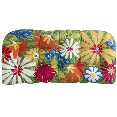 Whimsical Garden Settee Cushion - this matches my patio perfectly! I'm such a pillow/cushion whore ; Front Yard Fence, Front Porch, Dream Furniture, Outdoor Cushions, Dream Decor, Garden Art, 3 D, Whimsical