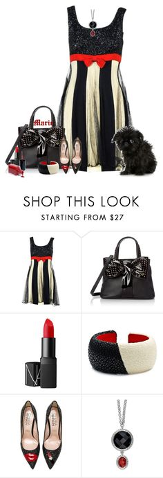 """""""Bande rouge"""" by frane-x ❤ liked on Polyvore featuring Moschino, Betsey Johnson, NARS Cosmetics, DANNIJO and Chiara Ferragni"""