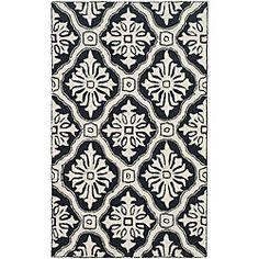 Hand-hooked Lexington Ivory/ Black Polypropylene Rug (2' x 3')