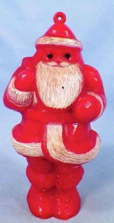 Vintage Santa Claus Christmas Ornament Candy Container Red Hard Plastic Retro EE  | eBay I have this one in my collection