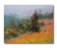 #Colorful #Landscape #Painting  #Mountains Painting Green by PysarArt