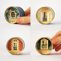 How about a porthole tin, that shows an underwater scene through the window? Altered Tins, Altered Art, Fun Crafts, Paper Crafts, Matchbox Art, Tin Art, Paper Artwork, Mini Things, Miniture Things