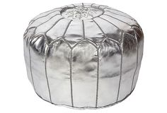 Folami Moroccan Leather Pouf, Silver on OneKingsLane.com For my girls room