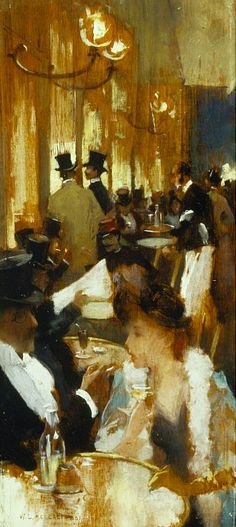 Willard Metcalf  Au Cafe  1888 LOVE the profile of the woman, also the lighting of the picture is beautiful!