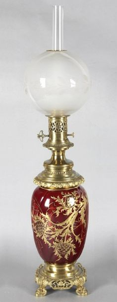 Victorian cranberry glass lamp.