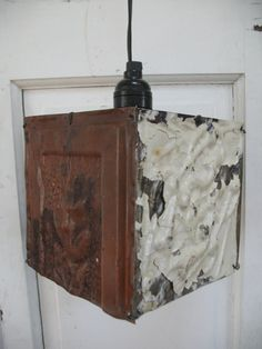 Items Similar To Shabby Chic Tin Ceiling Tiles Lamp Architectural Salvage Lantern Hanging Lamp Tin Ceiling Tiles Antique Ceiling Tiles Lamp On Etsy My Tin Ceiling Tiles Lamp Still Available To Purchase On Etsy Tin Tiles, Tin Ceiling Tiles, Metal Ceiling, Roof Tiles, Tile Crafts, Tile Projects, Ceiling Medallions, Architectural Salvage, Decoration