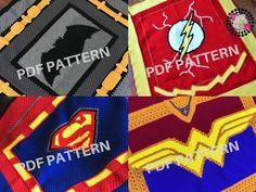 Crochet Justice League Batman, Superman, The Flash, and Wonder Woman Blanket Patterns