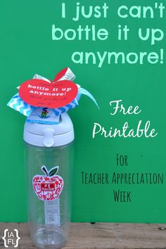 Teacher Appreciation Gift Idea!  Teacher Water Bottle Printable Gift Tag - The teachers are going to love these! :)