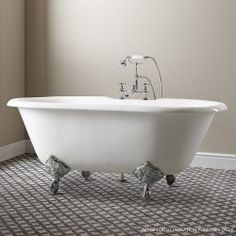 Soakology - Sandhurst Cast Iron Roll Top Bath - two tap holes - white