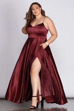 Plus Size Formal Dresses, Dress Plus Size, Formal Dresses For Women, Satin Dresses, Plus Size Dresses, Plus Size Outfits, Dress Formal, Plus Size Clothing, Plus Size Fashion Dresses