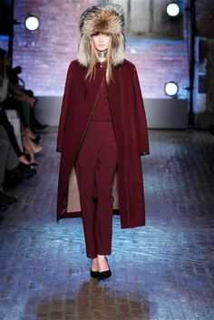 Yigal Azrouel Fall 2012 Collection: Pinot Noir - Head-to-toe oxblood topped with fur. (=)