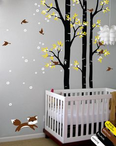 Tree wall decal fox birds wall decals flower  , $85.00