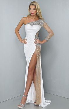 Find More Evening Dresses Information about Charming 2014 Sexy Dress For Prom One Shoulder High Side Slit A Line Crystal Beaded White Chiffon Elegant Long Evening Dresses,High Quality dress women,China dress pleated Suppliers, Cheap dress outfits for women from Mr Zhu Weddings & Events Dresses Co., Ltd on Aliexpress.com
