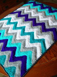 Love the chevron pattern...cute for a baby blanket.