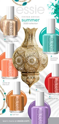 essie's Summer 2020 Nail Polish Collection include dramatic, bold, creamy, playful and enchanting nail polishes. Essie Nail Colors, Toe Nail Color, Summer Nail Polish Colors, Nail Polishes, Manicures, Natural Looking Nails, Gel Nails At Home, Pin On, Nail Polish Collection