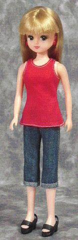 一枚タンクトップ(リカちゃん) 「パプペポ」着せ替え人形の手作り服の作り方 - http://papupepo.aikotoba.jp/doll/ht/1mai_tank_top.html