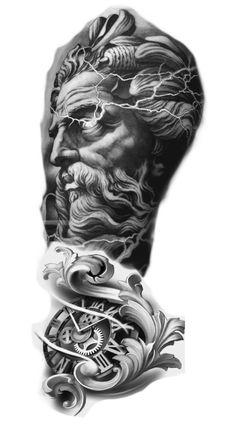 Religious Tattoo Sleeves, Lion Tattoo Sleeves, Wolf Tattoo Sleeve, Full Sleeve Tattoo Design, Best Sleeve Tattoos, Zues Tattoo, Atlas Tattoo, Egyptian Tattoo Sleeve, Poseidon Tattoo