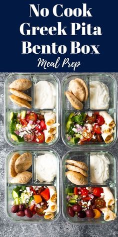 bento box lunch No cook Greek pita bento box has chicken, greek salad, tzatziki and pita bread. No cooking required, and assembled in under 20 minutes! Lunch Meal Prep, Healthy Meal Prep, Healthy Snacks, Healthy Eating, Healthy Recipes, Greek Pita, Greek Salad, Bento Recipes, Cooking Recipes