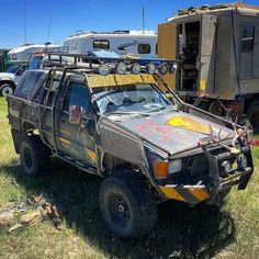 "#Adventuremobile come is all styles. Take this #madmax style #4Runner for example. It does look like it's been down a ""Rough Road."" #lifeofadventure #overlandexpo #overland #offroad #toyota #4x4 by explorelements"