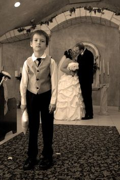 """""""This is my son at my wedding to his stepfather."""" (submitted by Samantha)  funny and sad at the same time..."""